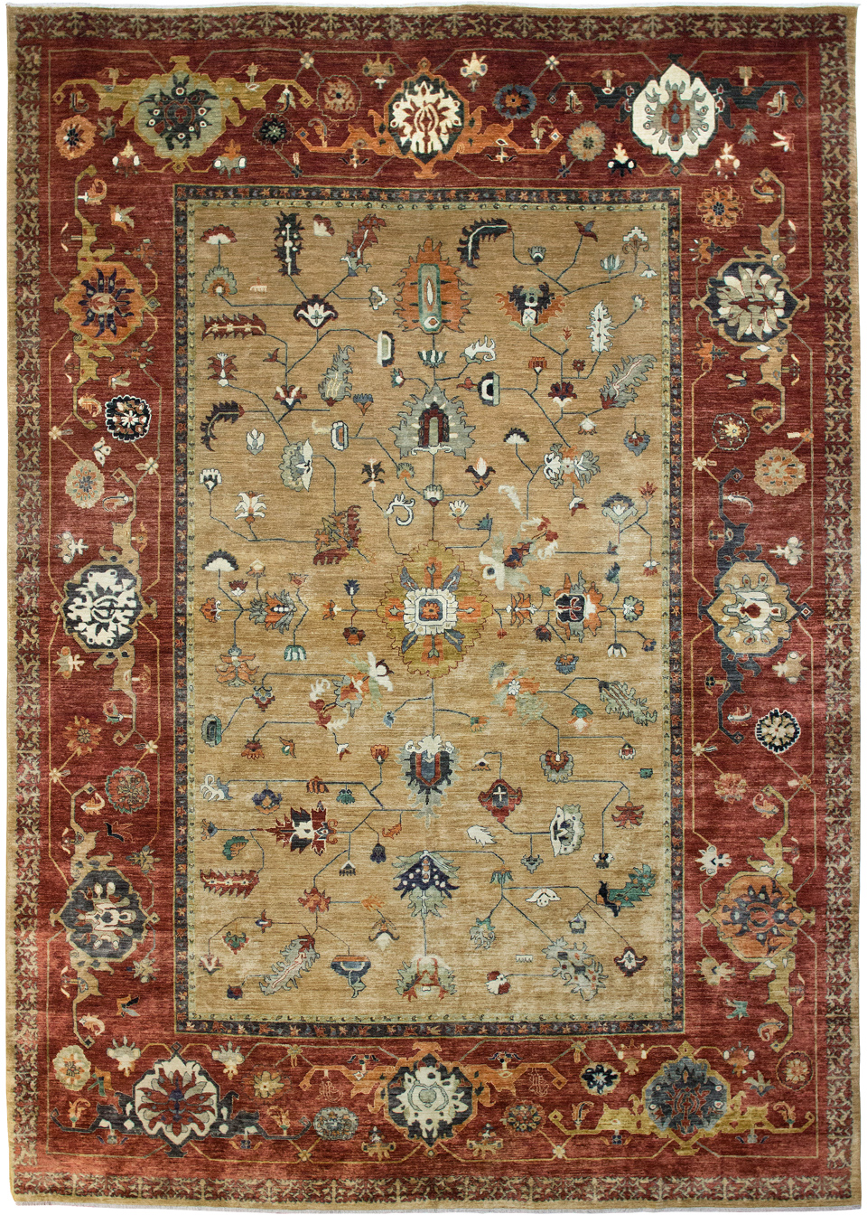 Bakshaish Design Vegetable Dyed In Rust And Camel Area Rug