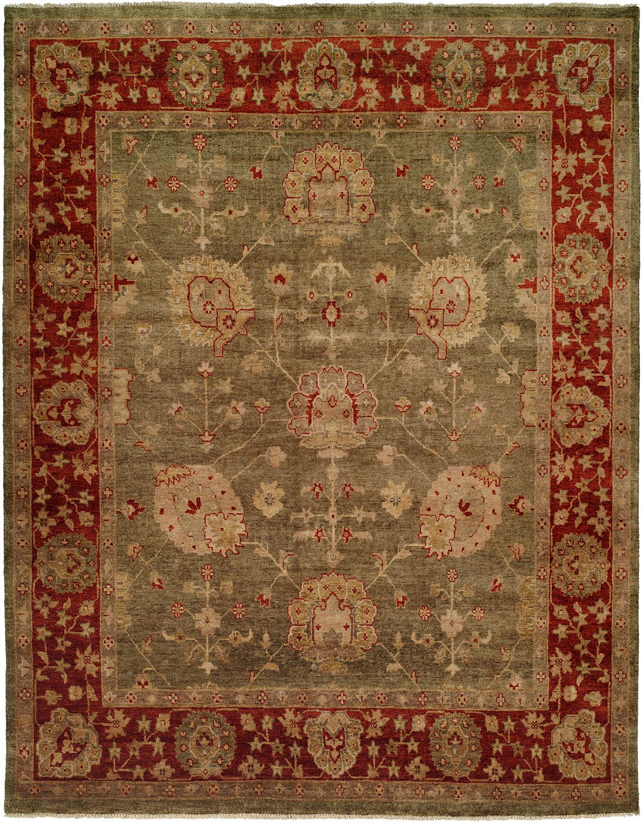 Green Field With Rust Red Border Area Rug