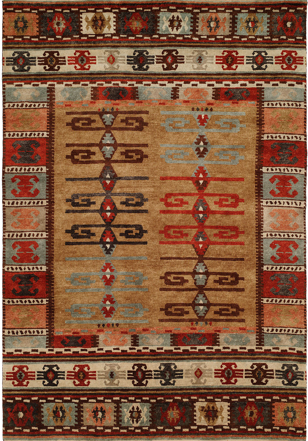 Nomadic Tribal Design Multi Colored With Wheat And Ivory