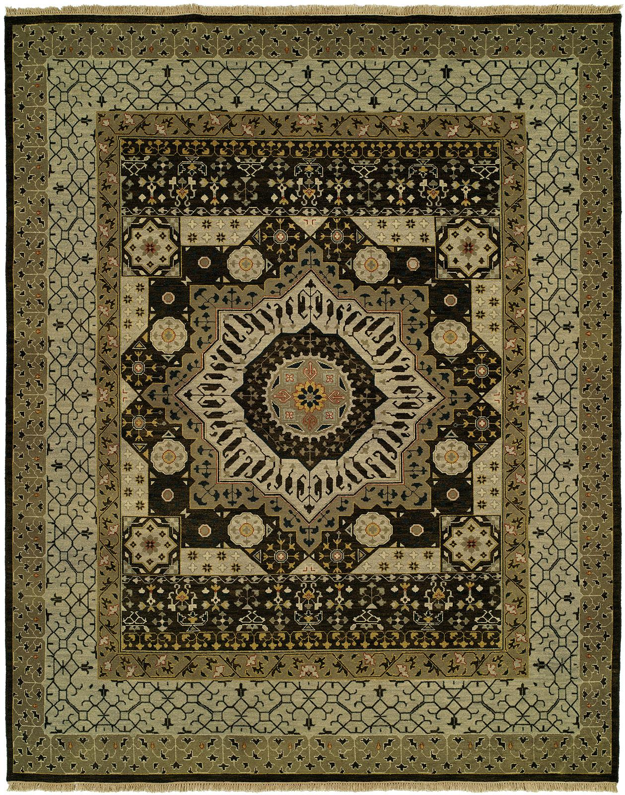 Java brown with grey and tan border area rug for Grey and tan rug