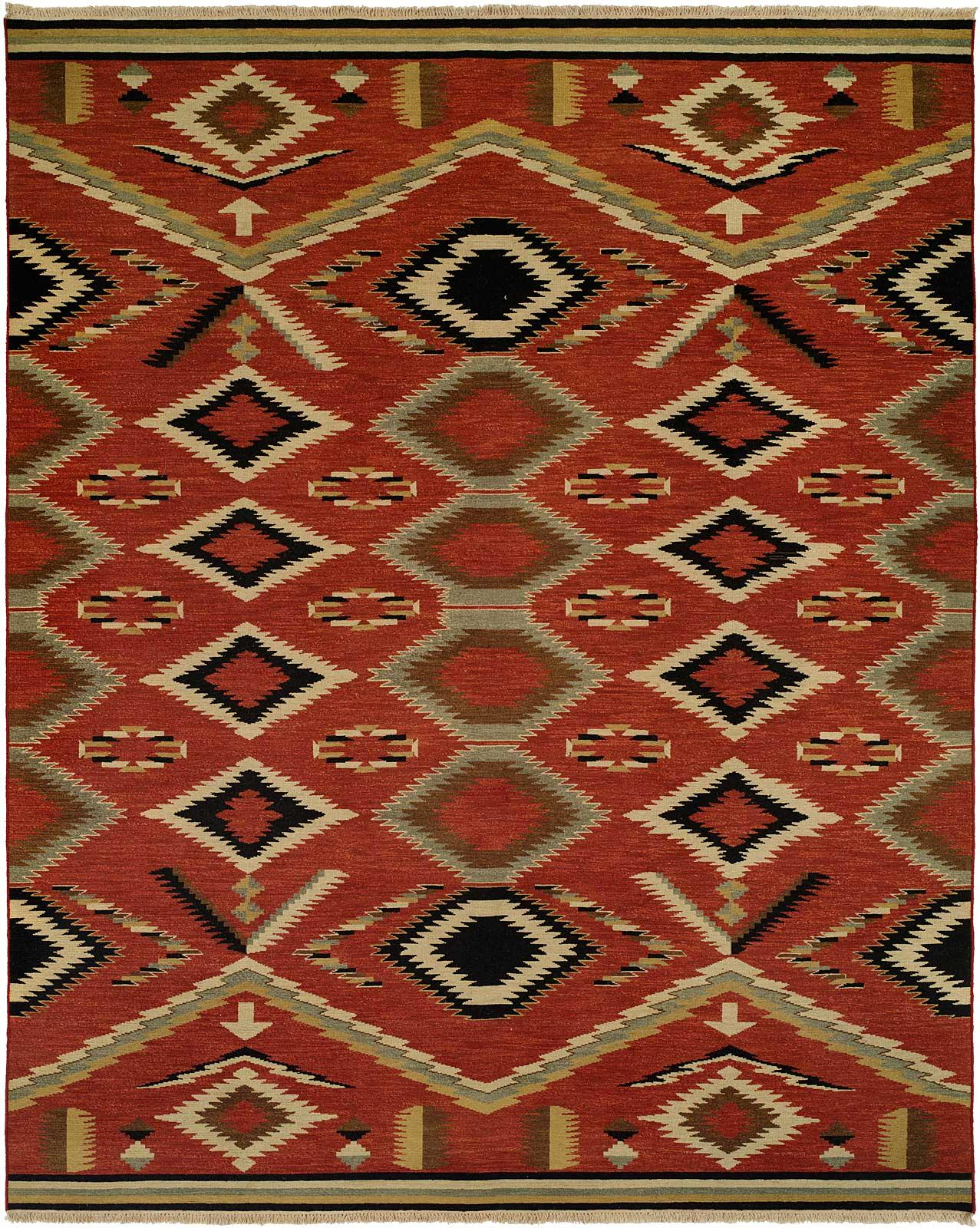 Navajo Rug Design Red Field With Sage Ivory And Black