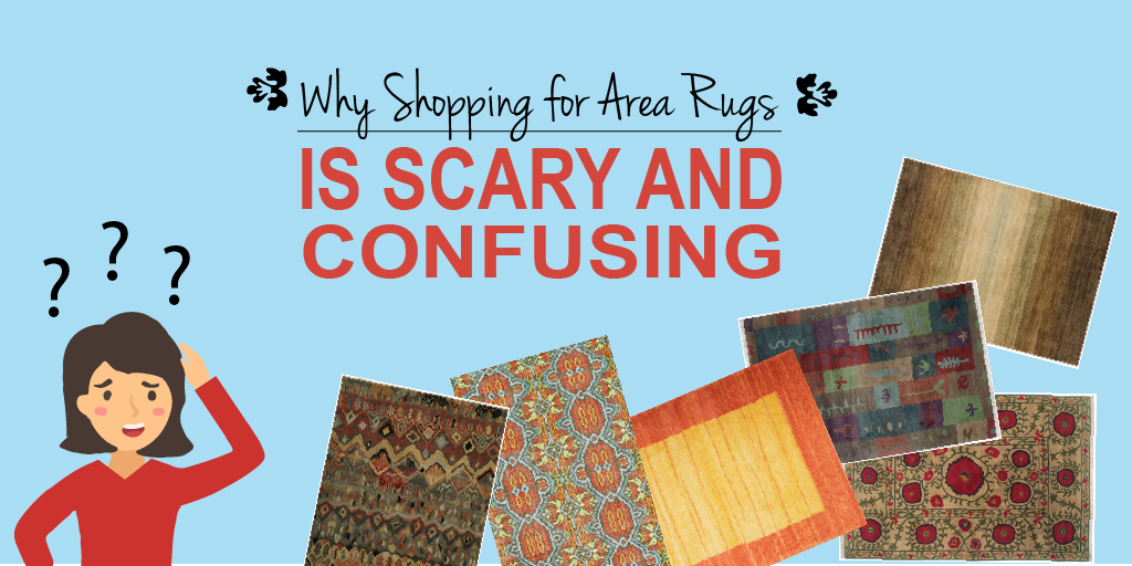 Why Shopping for an Area Rug is Scary and Confusing - woman scratching her head from too many selections of area rugs